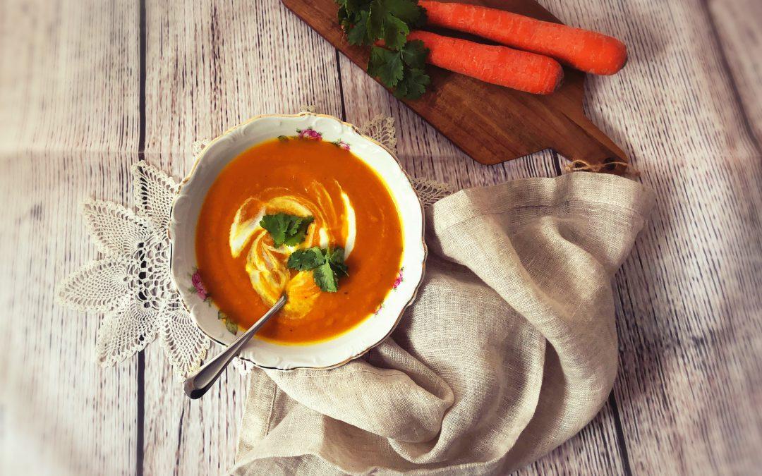carrot ginger turmeric soup YogicFoods yoga diet rajasic