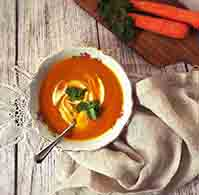 carrot ginger turmeric soup YogicFoods yoga diet rajasic