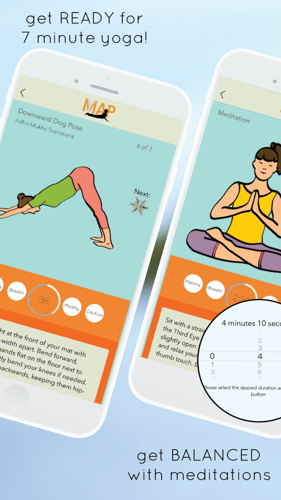 yogamap app - 7 minute yoga and meditation timer