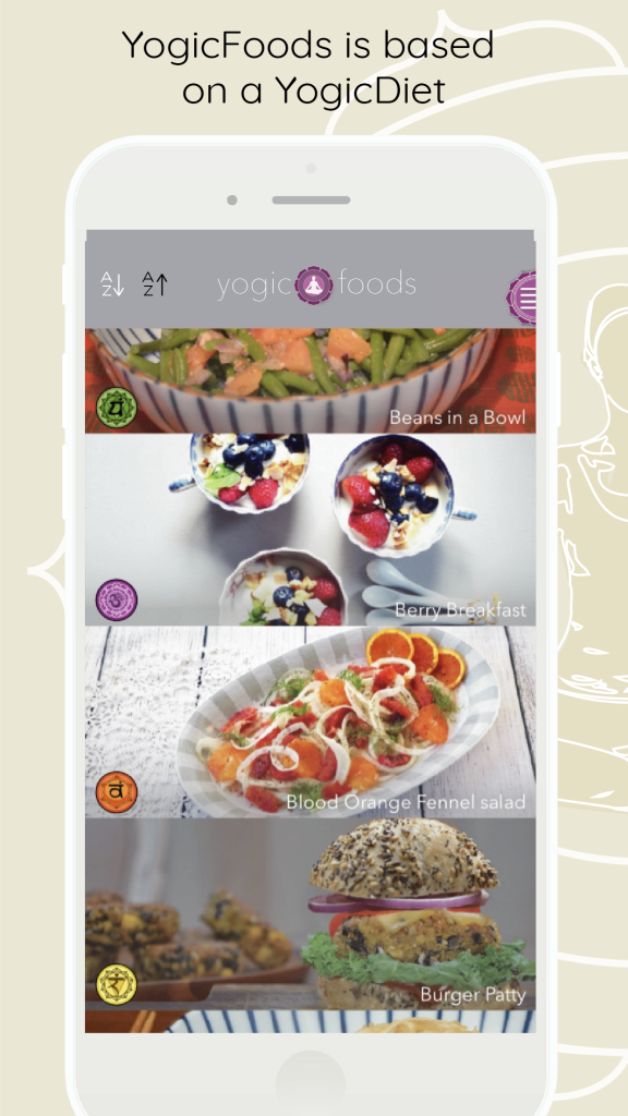 YogicFoods App recipe overview with chakra symbols