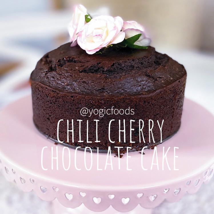 Chili Cherry Chocolate Cake by YogicFoods