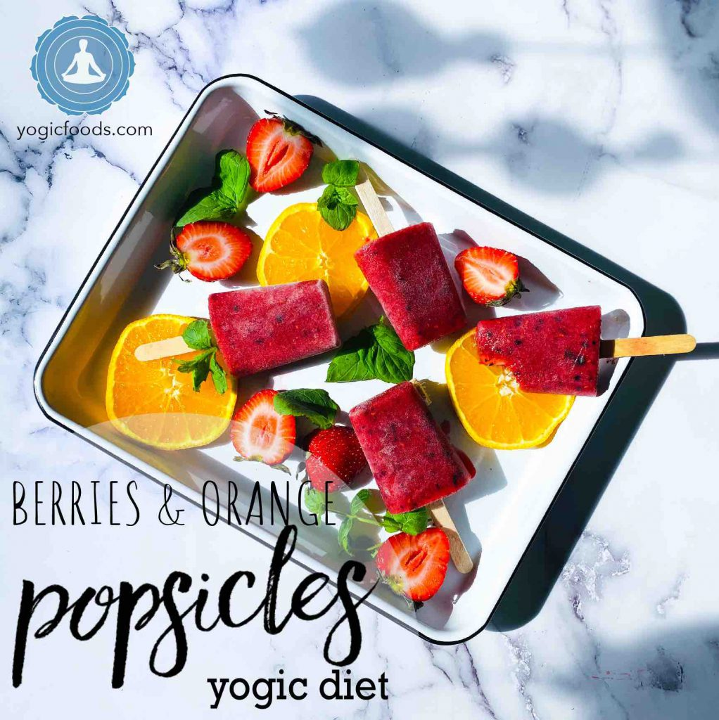 small-square - fruity berry and orange popsicles yogic diet yogic foods